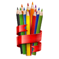 Colored wooden pencils tied with red ribbon on white, vector illustration