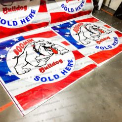 4 of July Custom Banenrs for stores being printed in our machines