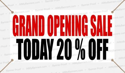 grand opening 20% sale custom banner 20 percent off